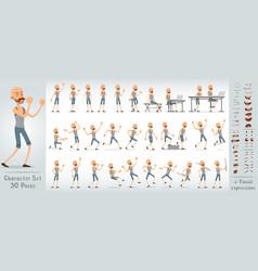Cartoon flat boxer boy character big set vector