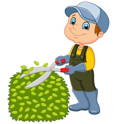 Cartoon the man cutting grass vector