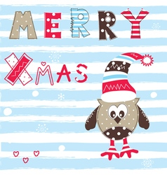 Christmas greeting card with cute owl vector