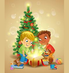 Christmas miracle - boys opening a magic gift vector