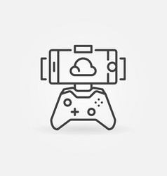 cloud gaming on smartphone outline concept vector image