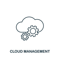 cloud management outline icon thin line style vector image