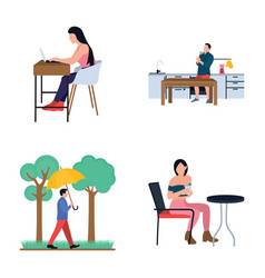 collection of daily life routine flat icons vector image