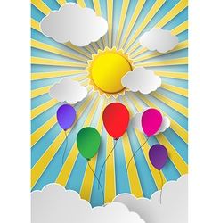 Colorful balloon on sky vector