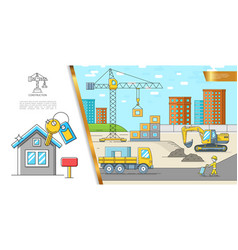 Colorful construction site concept vector