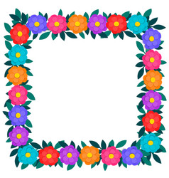 colorful paper cut out flowers and green leaves vector image