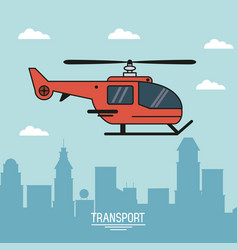 colorful poster of air transport with helicopter vector image