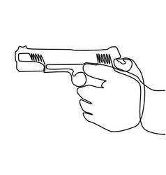 continuous one line hand holding gun vector image