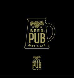 craft beer pub emblem mug sign hop cones and lette vector image