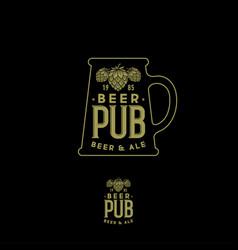 craft beer pub emblem mug sign hop cones and vector image