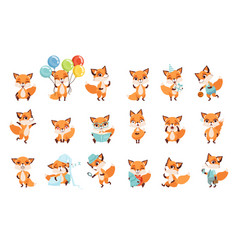 Cute little foxes showing various emotions and vector