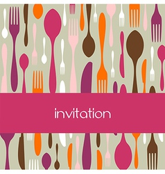 Cutlery pattern invitation vector image