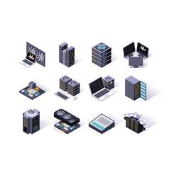 data center isometric icons set vector image
