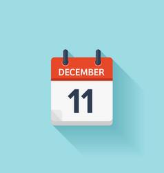 December 11 flat daily calendar icon vector