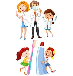 Dentists and children with toothbrush vector image