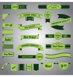 Discount retro ribbon green set vector