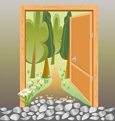 door of the brick wall on the road in the woods vector image