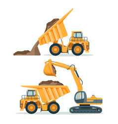 Dump truck with body full of soil and modern vector