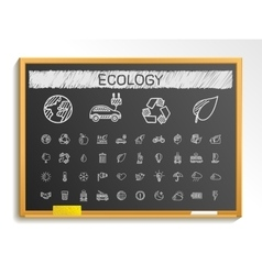 Ecology hand drawing line icons chalk sketch sign vector image