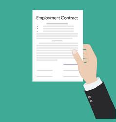 Employment contract paper document vector