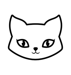 Face cat fluffy lovely animal outline vector