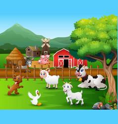 Farm scenes with different animals in farmyard vector
