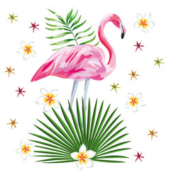 flamingo print with flowers beach wallpaper vector image