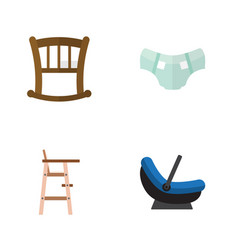 Flat icon child set of child chair pram nappy vector