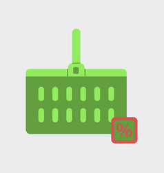 Flat icon of supermarket basket vector