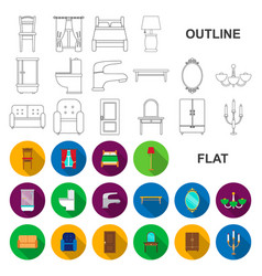 Furniture and interior flat icons in set vector