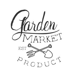 garden market product black and white promo sign vector image