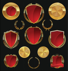 Golden shields labels and laurels gold and red vector