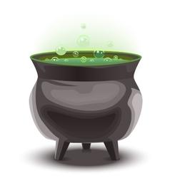 Green magic potion in cauldron Boiling pot vector image
