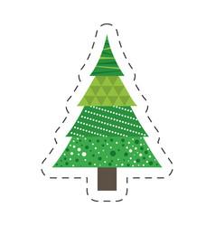 green tree pine christmas line vector image