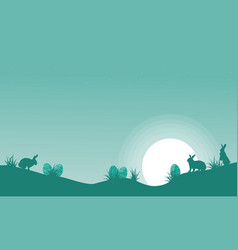 happy easter egg and bunny landscape vector image