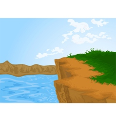 Hill and river nature background vector image