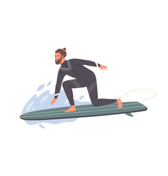 hipster male surfer in wetsuit standing one knee vector image