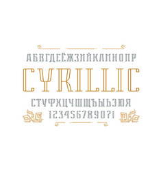 Hollow serif font and ornament vector
