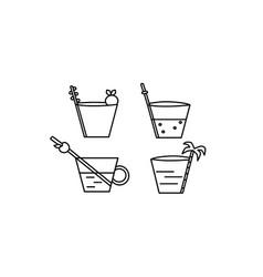 icon juice fresh fruit isolated flat set vector image
