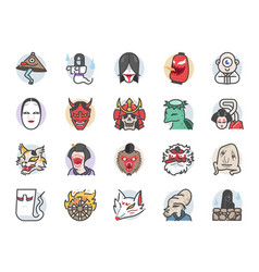 japanese ghost icon set vector image