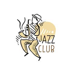 jazz club logo vintage music label vector image
