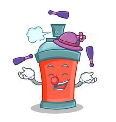Juggling aerosol spray can character cartoon vector