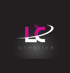 Lc l c creative letters design with white pink vector