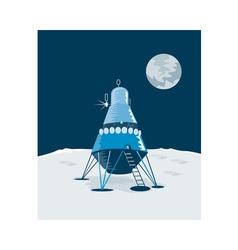 Lunar module on moon vector
