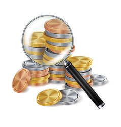 Magnifier and coin metal coins success vector
