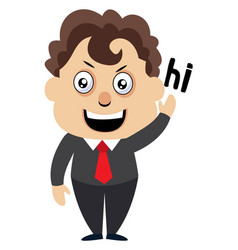 man saying hi on white background vector image