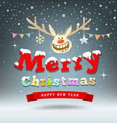 Merry Christmas Reindeer sketch design vector