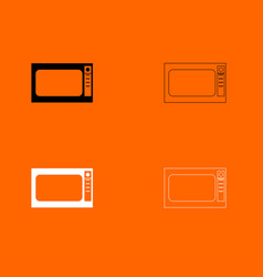 Microwave oven black and white set icon vector