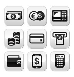 Money atm - cash mashine buttons set vector