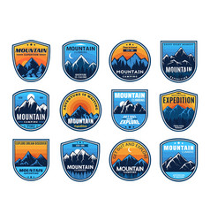 mountain climbing camping travel icons tourism vector image